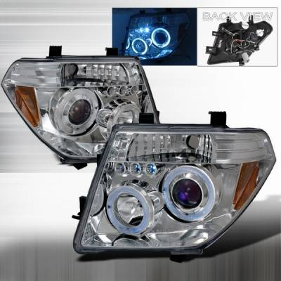 Headlights & Tail Lights - Headlights - Custom Disco - Nissan Frontier Custom Disco Chrome Halo Projector LED Headlights - LHP-PATH05B-TM
