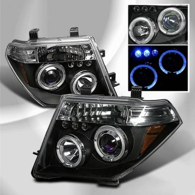 Headlights & Tail Lights - Headlights - Custom Disco - Nissan Frontier Custom Disco Black Halo Projector LED Headlights - LHP-PATH05JMB-TM