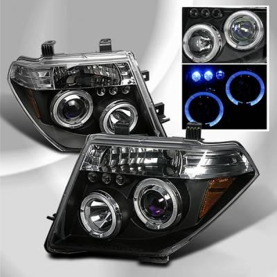 Headlights & Tail Lights - Headlights - Custom Disco - Nissan Pathfinder Custom Disco Black Halo Projector LED Headlights - LHP-PATH05JMB-TM