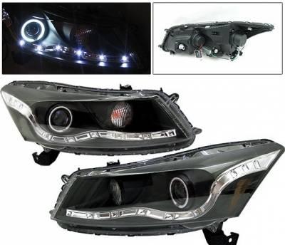 Headlights & Tail Lights - Headlights - 4 Car Option - Honda Accord 4DR 4 Car Option Halo Projector Headlights - Black CCFL - LP-HA084BF-KS