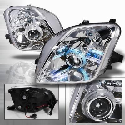 Headlights & Tail Lights - Headlights - Custom Disco - Honda Prelude Custom Disco Chrome Halo LED Projector Headlights - LHP-PL97-ABM