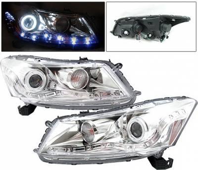 Headlights & Tail Lights - Headlights - 4 Car Option - Honda Accord 4DR 4 Car Option Halo Projector Headlights - Chrome CCFL - LP-HA084CF-KS