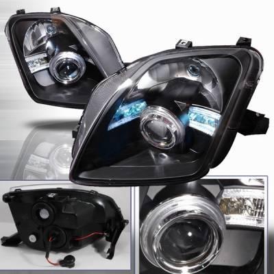 Headlights & Tail Lights - Headlights - Custom Disco - Honda Prelude Custom Disco Black Projector Headlights - LHP-PL97JM-ABM