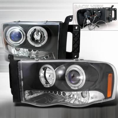 Headlights & Tail Lights - Headlights - Custom Disco - Dodge Ram Custom Disco Black Halo Projector Headlights - LHP-RAM02HJM-TM
