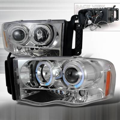 Headlights & Tail Lights - Headlights - Custom Disco - Dodge Ram Custom Disco Chrome Halo Projector Headlights - LHP-RAM02H-TM