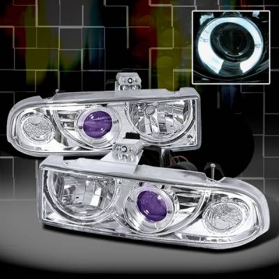 Headlights & Tail Lights - Headlights - Custom Disco - Chevrolet S10 Custom Disco Chrome Projector Headlights - LHP-S1098B-YD