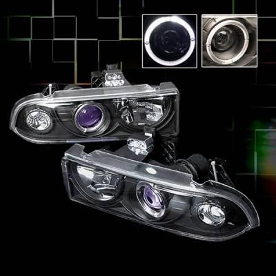 Headlights & Tail Lights - Headlights - Custom Disco - Chevrolet S10 Custom Disco Black Projector Headlights - LHP-S1098JMB-YD
