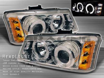 Headlights & Tail Lights - Headlights - Custom Disco - Chevrolet Silverado Custom Disco Clear Halo Projector Headlights - LHP-SIV03BH-YD