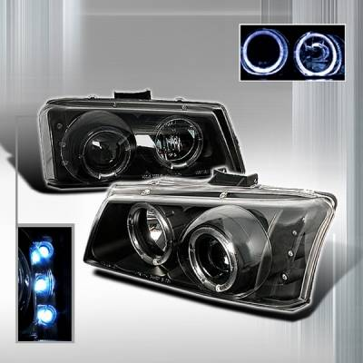 Headlights & Tail Lights - Headlights - Custom Disco - Chevrolet Silverado Custom Disco Black Halo Projector Headlights - LHP-SIV03JMH-YD