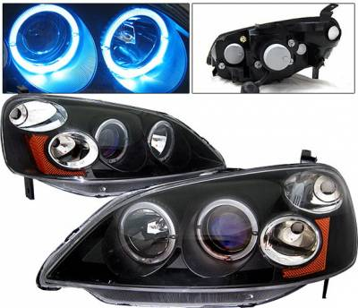 Headlights & Tail Lights - Headlights - 4 Car Option - Honda Civic 2DR & 4DR 4 Car Option Dual Halo Projector Headlights - Black - LP-HC01BB-KS