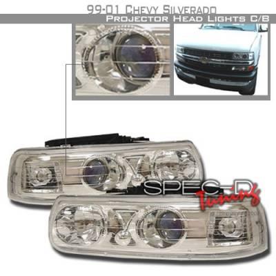 Headlights & Tail Lights - Headlights - Custom Disco - Chevrolet Silverado Custom Disco Chrome Projector Headlights - LHP-SIV99B-KS