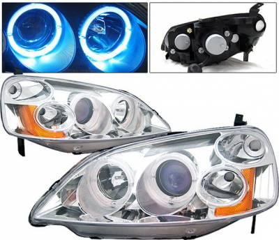 Headlights & Tail Lights - Headlights - 4 Car Option - Honda Civic 2DR & 4DR 4 Car Option Dual Halo Projector Headlights - Chrome - LP-HC01CB-KS