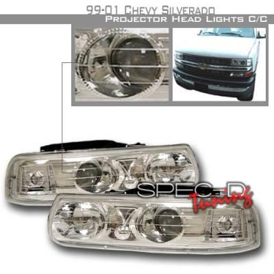 Headlights & Tail Lights - Headlights - Custom Disco - Chevrolet Silverado Custom Disco Chrome Halo Projector Headlights - LHP-SIV99-KS