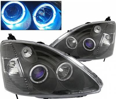 Headlights & Tail Lights - Headlights - 4 Car Option - Honda Civic HB 4 Car Option Dual Halo Projector Headlights - Black - LP-HC03BB-KS
