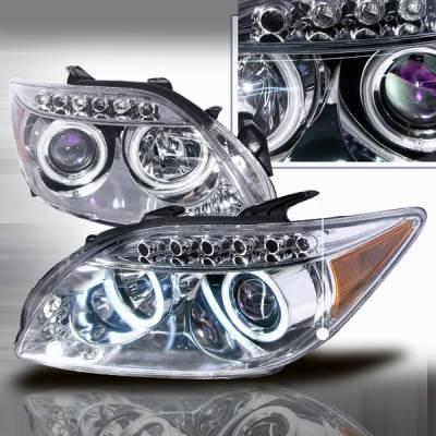 Headlights & Tail Lights - Headlights - Custom Disco - Scion tC Custom Disco Chrome LED Halo Projector Headlights - LHP-TC05B-KS