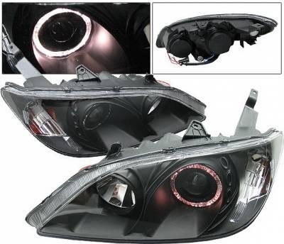 Headlights & Tail Lights - Headlights - 4 Car Option - Honda Civic 2DR & 4DR 4 Car Option Dual Halo Projector Headlights - Black - LP-HC04BB-KS