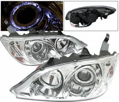 Headlights & Tail Lights - Headlights - 4 Car Option - Honda Civic 2DR & 4DR 4 Car Option Dual Halo Projector Headlights - Chrome - LP-HC04CB-KS