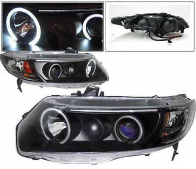 Headlights & Tail Lights - Headlights - 4 Car Option - Honda Civic 2DR 4 Car Option Dual Halo Projector Headlights - Black CCFL - LP-HC062BB-KS