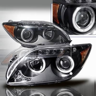 Headlights & Tail Lights - Headlights - Custom Disco - Scion tC Custom Disco Black LED Halo Projector Headlights - LHP-TC05JM-KS