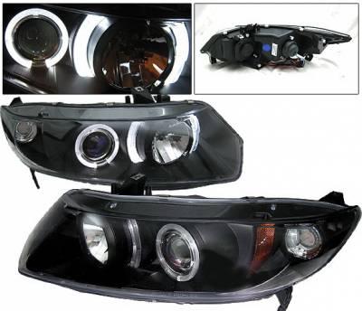 Headlights & Tail Lights - Headlights - 4 Car Option - Honda Civic 2DR 4 Car Option Halo Projector Headlights - Black - LP-HC062BB-YD