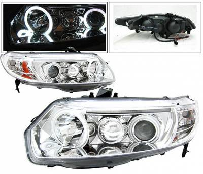 Headlights & Tail Lights - Headlights - 4 Car Option - Honda Civic 2DR 4 Car Option Dual Halo Projector Headlights - Chrome CCFL - LP-HC062CB-KS