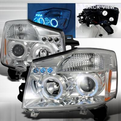 Headlights & Tail Lights - Headlights - Custom Disco - Nissan Titan Custom Disco Chrome Halo Projector Headlights - LHP-TIT04B-TM