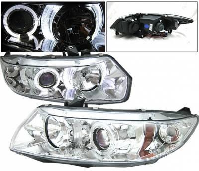 Headlights & Tail Lights - Headlights - 4 Car Option - Honda Civic 2DR 4 Car Option Halo Projector Headlights - Chrome - LP-HC062CB-YD