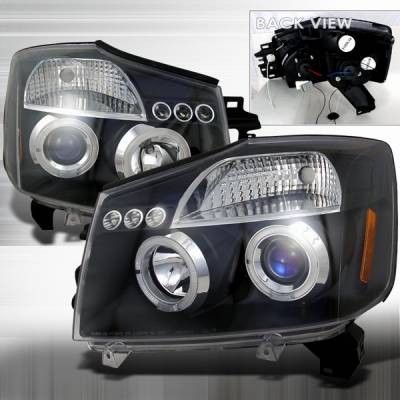 Headlights & Tail Lights - Headlights - Custom Disco - Nissan Titan Custom Disco Black Projector Headlights - LHP-TIT04JMB-TM