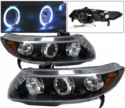 Headlights & Tail Lights - Headlights - 4 Car Option - Honda Civic 4DR 4 Car Option Dual Halo LED Projector Headlights - Black - LP-HC064BB-5