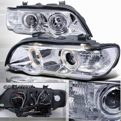 Headlights & Tail Lights - Headlights - Custom Disco - BMW X5 Custom Disco Chrome Projector Headlights - LHP-X500-APC