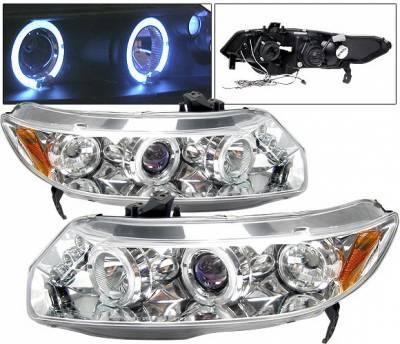 Headlights & Tail Lights - Headlights - 4 Car Option - Honda Civic 4DR 4 Car Option Dual Halo LED Projector Headlights - Chrome - LP-HC064CB-5