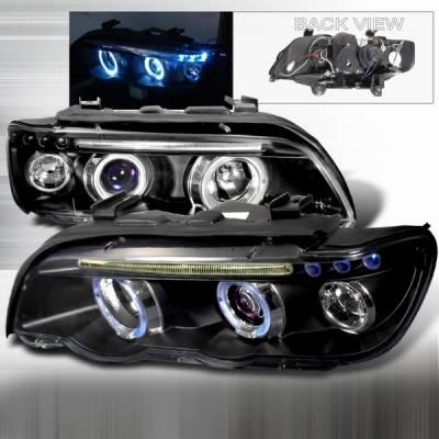 Headlights & Tail Lights - Headlights - Custom Disco - BMW X5 Custom Disco Black Projector Headlights - LHP-X500JM-TM