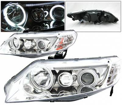 Headlights & Tail Lights - Headlights - 4 Car Option - Honda Civic 2DR 4 Car Option Dual Halo Projector Headlights - Chrome CCFL - LP-HC064CB-KS