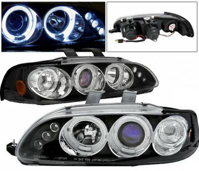 Headlights & Tail Lights - Headlights - 4 Car Option - Honda Civic 2DR 4 Car Option LED Dual Halo Projector Headlights - Black - LP-HC922BB-5