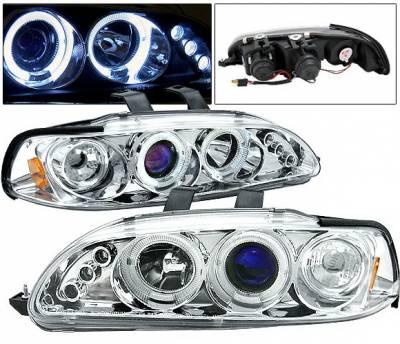 Headlights & Tail Lights - Headlights - 4 Car Option - Honda Civic HB 4 Car Option LED Dual Halo Projector Headlights - Chrome - LP-HC922CB-5