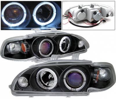 Headlights & Tail Lights - Headlights - 4 Car Option - Honda Civic 4DR 4 Car Option Dual Halo Projector Headlights - Black - 1PC - LP-HC924BBR-KS