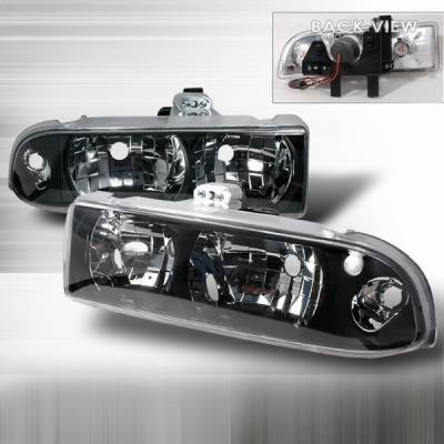 Headlights & Tail Lights - Headlights - Custom Disco - Chevrolet S10 Custom Disco Crystl Headlights - LH-S1098JM-YD
