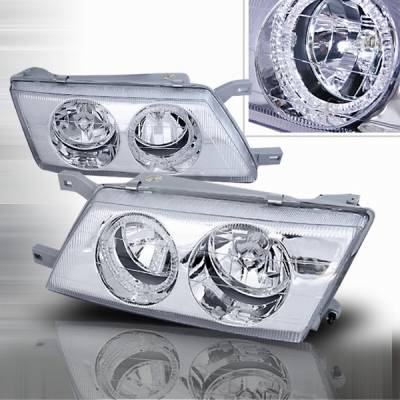 Headlights & Tail Lights - Headlights - Custom Disco - Nissan Sentra Custom Disco Chrome Halo Headlights - LH-SEN95H-KS