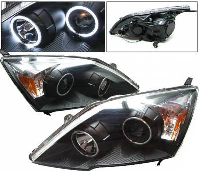 Headlights & Tail Lights - Headlights - 4 Car Option - Honda CRV 4 Car Option Halo Projector Headlights - Black CCFL - LP-HCRV07BB-KS