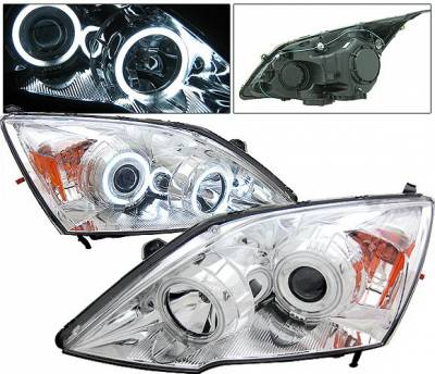 Headlights & Tail Lights - Headlights - 4 Car Option - Honda CRV 4 Car Option Halo Projector Headlights - Chrome CCFL - LP-HCRV07CB-KS