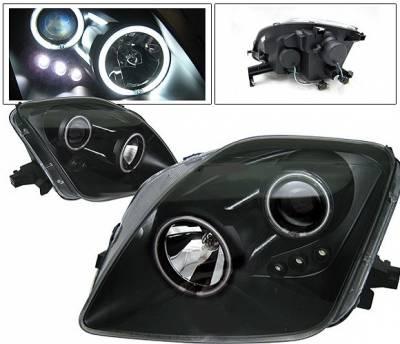 Headlights & Tail Lights - Headlights - 4 Car Option - Honda Prelude 4 Car Option LED Halo Projector Headlights - Black - LP-HP97BB-KS