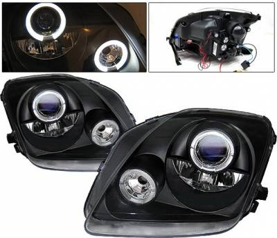 Headlights & Tail Lights - Headlights - 4 Car Option - Honda Prelude 4 Car Option LED Halo Projector Headlights - Black - LP-HP97BB-YD