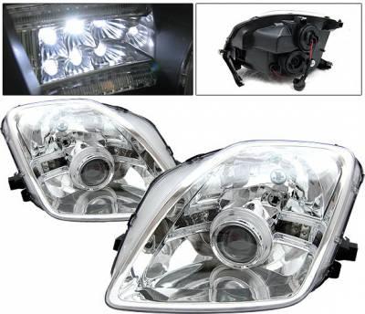 Headlights & Tail Lights - Headlights - 4 Car Option - Honda Prelude 4 Car Option Halo Projector Headlights - Chrome - LP-HP97CB-9