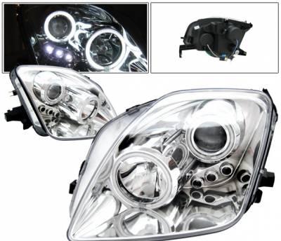 Headlights & Tail Lights - Headlights - 4 Car Option - Honda Prelude 4 Car Option LED Halo Projector Headlights - Chrome - LP-HP97CB-KS