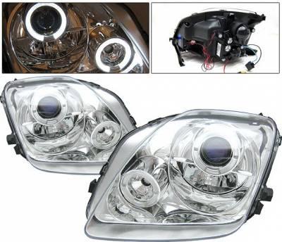 Headlights & Tail Lights - Headlights - 4 Car Option - Honda Prelude 4 Car Option LED Halo Projector Headlights - Chrome - LP-HP97CB-YD