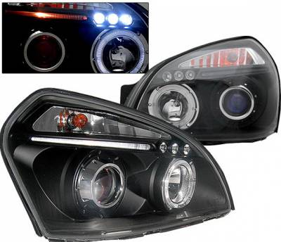 Headlights & Tail Lights - Headlights - 4 Car Option - Hyundai Tucson 4 Car Option LED Halo Projector Headlights - Black - LP-HTUC04BB-5