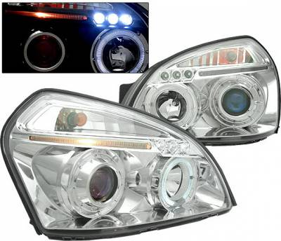 Headlights & Tail Lights - Headlights - 4 Car Option - Hyundai Tucson 4 Car Option LED Halo Projector Headlights - Chrome - LP-HTUC04CB-5
