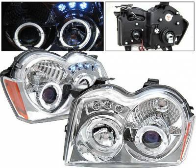 Headlights & Tail Lights - Headlights - 4 Car Option - Jeep Grand Cherokee 4 Car Option LED Dual Halo Projector Headlights - Chrome - LP-JGC05CB-YD