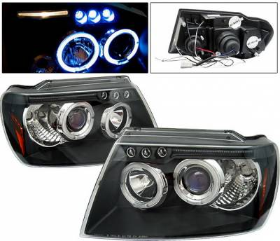 Headlights & Tail Lights - Headlights - 4 Car Option - Jeep Grand Cherokee 4 Car Option LED Dual Halo Projector Headlights - Black - LP-JGC99BB-5
