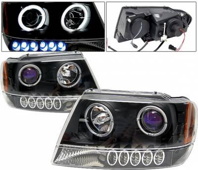 Headlights & Tail Lights - Headlights - 4 Car Option - Jeep Grand Cherokee 4 Car Option Dual Halo Projector Headlights - Black & Blue - LP-JGC99BB-KS